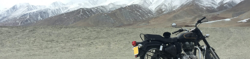 bike in front of mountains